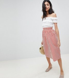 Read more about Asos design tall cotton midi skirt with button front in stripe - red ivory