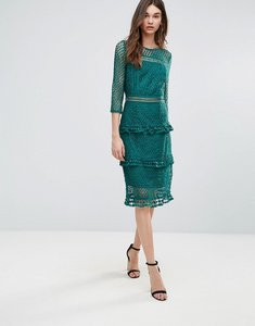 Read more about Liquorish layered lace 3 4 sleeve midi dress - green