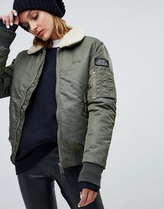 Read more about Schott relaxed flight jacket with faux shearling collar - khaki sage