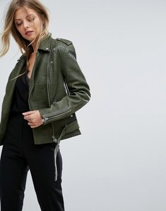 Read more about Y a s croc leather jacket - green