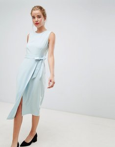 Read more about Closet london tie v-back pencil dress in sky blue - sky blue