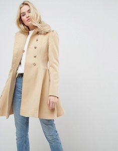 Read more about Asos skater coat with faux fur collar and button detail - camel