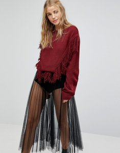 Read more about Rokoko jumper with tassel fringe detail - rust