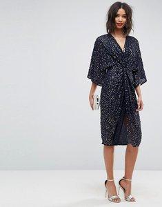 Read more about Asos sequin kimono midi dress - navy