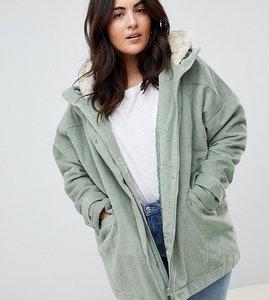 Read more about Asos design curve cord borg hooded parka - mint