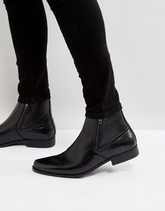 Read more about Asos chelsea boots in black faux leather with zips - black