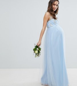 Read more about Chi chi london maternity bardot neck sleeveless maxi dress with premium lace and tulle skirt - blueb