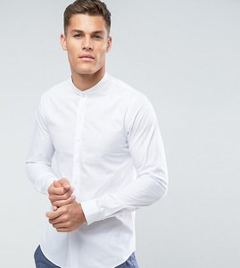 Read more about Noak skinny shirt with ribbed collar - white