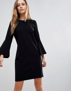 Read more about Polo ralph lauren bell sleeve dress with leather trim - black