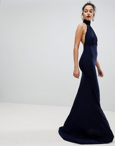 Read more about Club l bridesmaid halterneck high neck fishtail maxi dress - navy