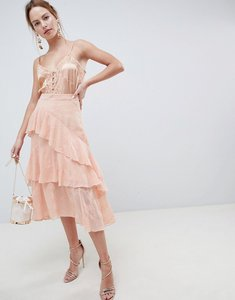 Read more about Asos design embroidered lace asymmetric ruffle high low midi skirt - peach