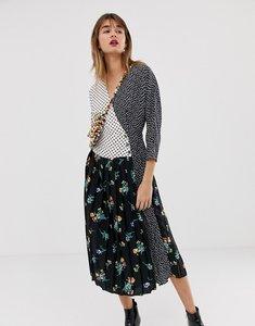 Read more about Asos design mixed print pleated wrap maxi dress with long sleeves