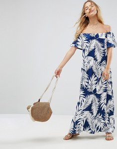 Read more about Asos off shoulder maxi sundress in navy palm print - navy palm print