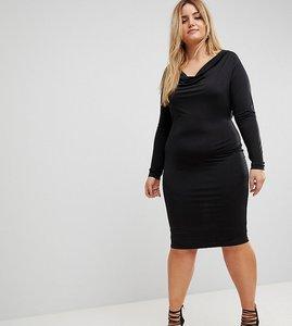 Read more about Asos curve plunge cowl neck mini bodycon dress - black