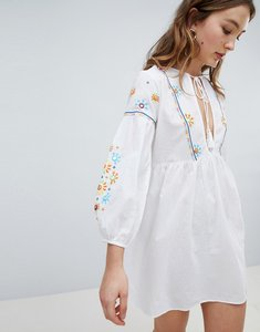 Read more about Influence embroidered panel beach dress - white