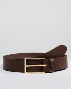 Read more about Asos smart leather slim belt in brown - brown
