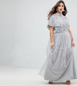 Read more about Frock and frill plus premium embellished top high neck maxi dress - grey silver
