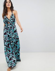 Read more about Asos design woven tie front maxi beach dress in tropical pop print - tropical pop print