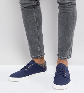 Read more about Asos wide fit lace up plimsolls in navy faux suede with warm handle cuff - navy