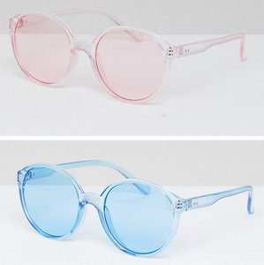 Read more about Asos 2 pack plastic round sunglasses in coloured lens - multi