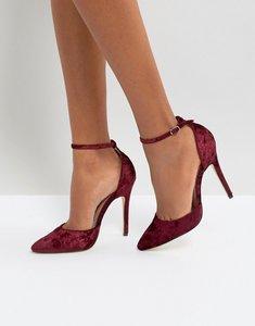 Read more about London rebel 2 part court velvet point high heels - burgundy velvet