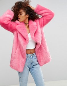 Read more about Asos pink faux fur coat - pink