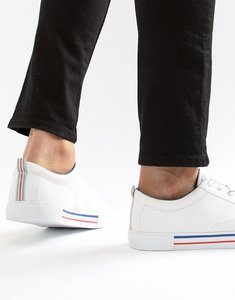 Read more about Asos design lace up plimsolls in white with navy and red detailing - white