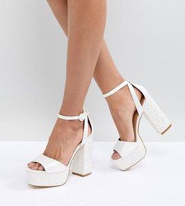 Read more about Be mine bridal juniper glitter platform sandals - ivory satin