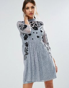 Read more about Asos embroidered lace mini skater dress - grey