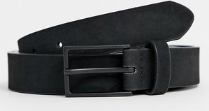 Read more about Asos plus smart slim belt in black faux suede - black