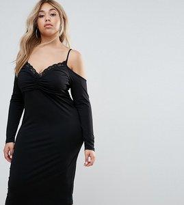 Read more about Asos curve crepe midi pencil dress with cold shoulder and lace trim - black