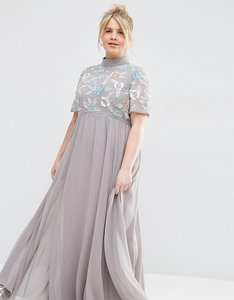 Read more about Asos curve high neck embellished maxi dress - grey