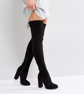 Read more about Asos kingship tall heeled over the knee boots - black
