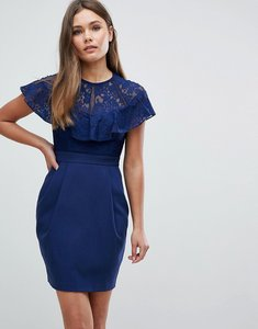 Read more about Asos lace insert pencil mini dress - navy