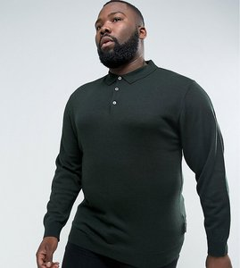 Read more about French connection plus knitted long sleeve polo - green