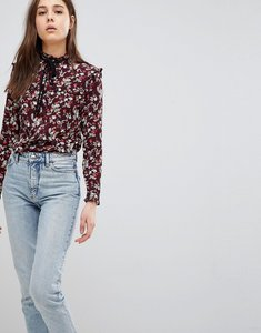 Read more about Glamorous floral print blouse with tie neck detail - deep purple floral