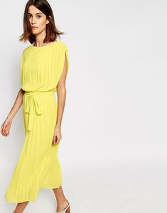 Read more about Warehouse pleated midi dress - yellow