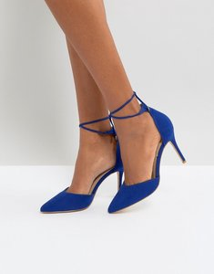 Read more about New look ankle tie pointed heeled shoes - mid blue