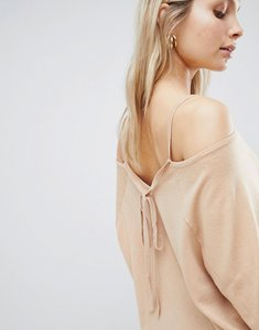 Read more about Asos jumper with cold shoulder and tie back - mink