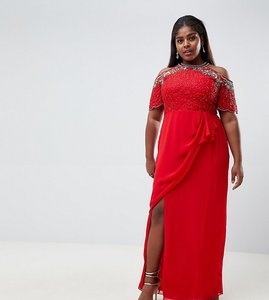 Read more about Virgos lounge plus reign embellished cold shoulder maxi dress with wrap skirt in red - red