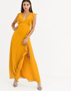 Read more about Tfnc cross back short sleeve maxi dress with frill detail