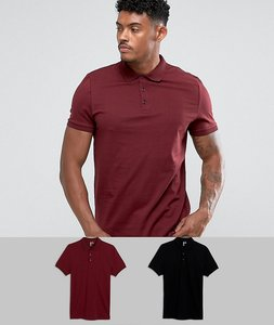 Read more about Asos jersey polo 2 pack save - black harvest red