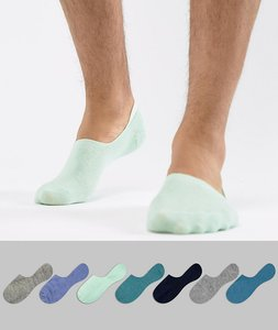 Read more about Asos design invisible liner socks in greens blues 7 pack save - multi