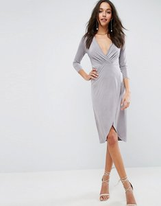 Read more about Asos slinky wrap midi dress - grey