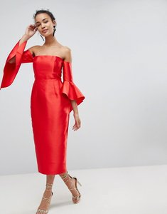 Read more about Asos bandeau fluted sleeve midi dress - hot red