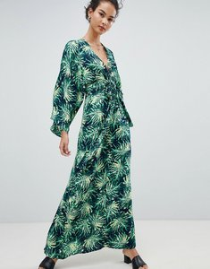 Read more about Qed london printed maxi dress with kimono sleeves - navy green