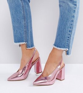 Read more about New look wide fit metallic pointed sling back heeled shoe - bright pink