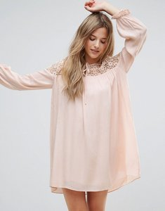 Read more about The english factory long sleeve tunic dress with embroidery and tie detail - nude pink
