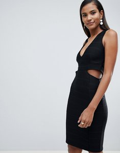 Read more about Miss selfridge plunge cut out bodycon midi dress - black