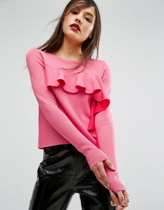 Read more about Asos jumper with ruffle front - pink